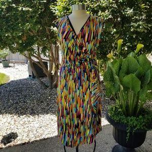 Peach Velvet Faux Wrap Dress, Size 12